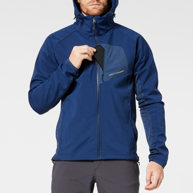 NORTHFINDER men's hybrid jacket ski-touring softshell 3-layer FREDERICIO - Universal outdoor winter jacket with hood. You can use as a warming jacket, as well as for cross-country ascents and skiing. The three-layer softshell material guarantees excellent warmth, breathability, and protection in adverse weather, together with a narrow cut and perfect seating. The jacket is ideal for all outdoor activities, walking in the mountains, hiking, and via ferrata in cooler seasons.