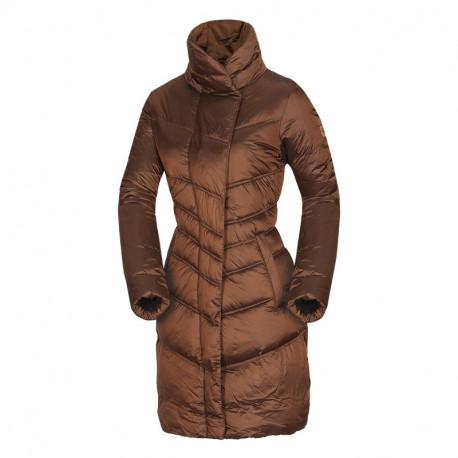 NORTHFINDER dámska bunda s imitácoiu peria vysoký golier dlhý strih metalická MADELINE
