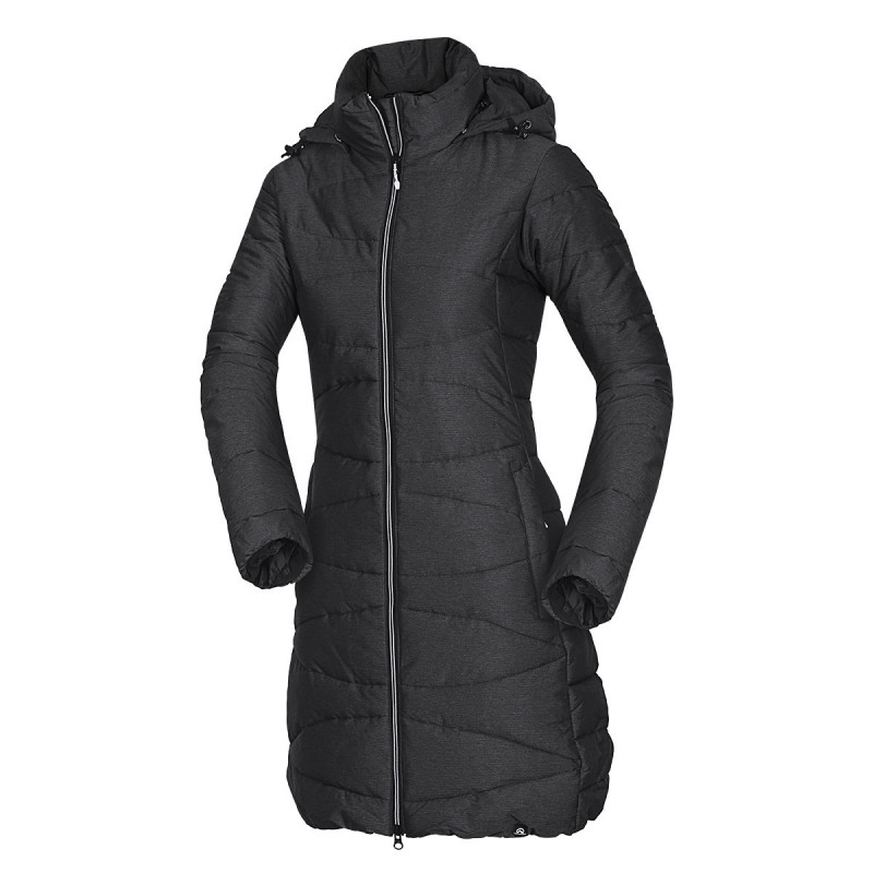 NORTHFINDER women's down jacket flexible fit 3/4 NORAH - Modern extended-cut coat with synthetic filling that has down-like shape and qualities. Protects from the cold even during snow showers. Perfect especially for casual wear, traveling, or walking in nature in the winter.