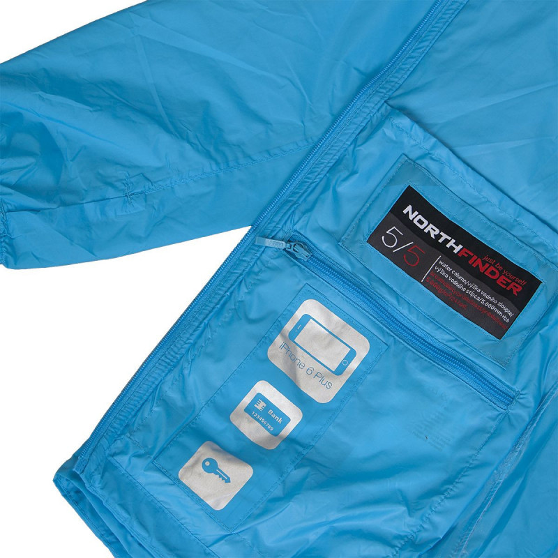 NORTHFINDER women's jacket waterproof stowable 2L NORTHCOVER - Simple, lightweight and collapsible (emergency) jacket in all weathers for active athletes. Waterproof material with sealed seams reliably protect against rain and wind. Waterproofing up to 5, mm with breathability of 5, g / 24 h / m2 makes it ideal an emergency jacket. Take it with you while running, cycling, but also hiking. Thanks to a 21 g (L) weight you will not even feel it. The jacket has front zipped pockets and inside pocket for smartphone, credit card and keys. Motion comfort completes an elastic hood, cuffs with thumb fixation and adjustable bottom hem. Pocket size: 22 x 1 mm, weight 21 g (L).