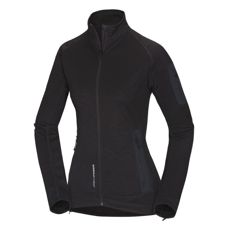 NORTHFINDER women's sweater promo melange MICHELLE - Simple technical sport cut sweater with articulated parts for physical activities. Elastic and adjustable elements increase wearer comfort and prevent heat loss. Functional materials are low-maintenance and dry quickly.