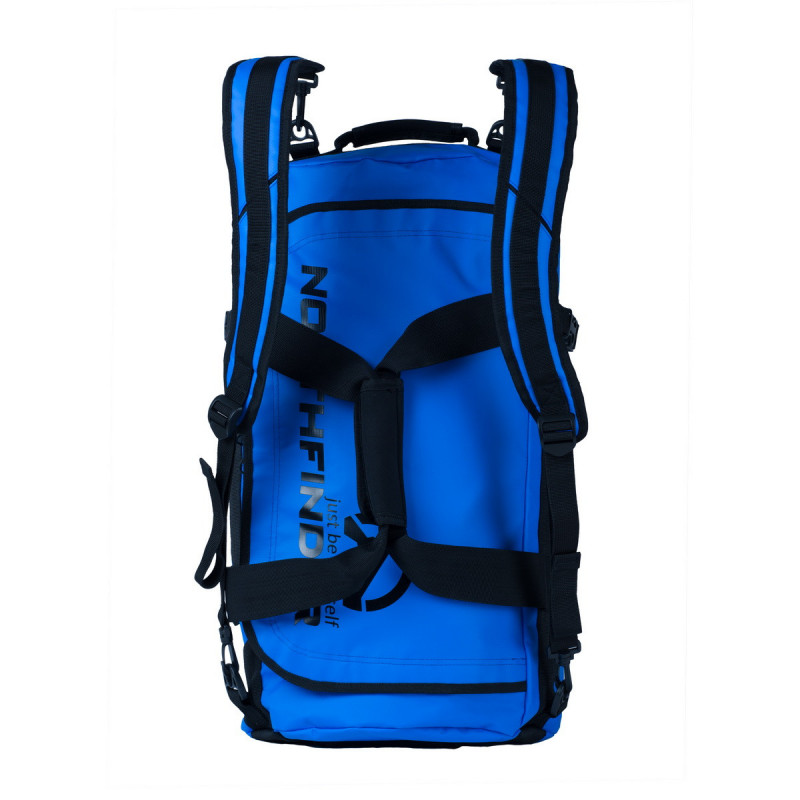 NORTHFINDER backpack travel 45L ROMA - Travel backpack from NORTHFINDER. Made of durable laminated PVC that can withstand even rough handling. Protects contents against dust, sand and moisture. Easy handling makes it the ideal companion for travelling the world. Can be worn with adjustable strap and shaped to fit comfortably on shoulders like a backpack. Held like a bag or over the shoulder. End handles make it easy to hold by two persons. Under the D-shaped entry hole with covered zip with large 45-litre compartment, perfect for multi-day trips. Mesh inner pocket on top keeps key items within easy reach. Practical compression straps hold contents firm.
