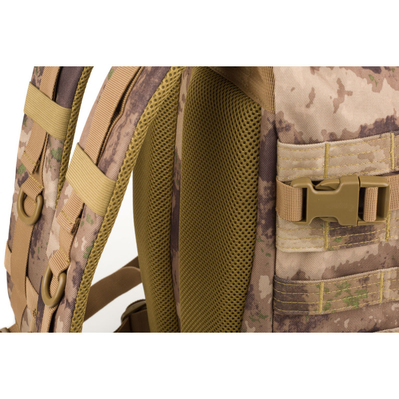NORTHFINDER unisex military backpack adjustable 45L TACTICAL - A 45-litres military backpack with camouflage print. Large front zipped-pocket. Straps are padded, ergonomic, and length-adjustable. Pull straps on sides and bottom to attach lighter-fleece sleeping bag. Reinforced bottom section. Suitable for various outdoor activities such as trekking, camping, airsoft, as well as urban use.