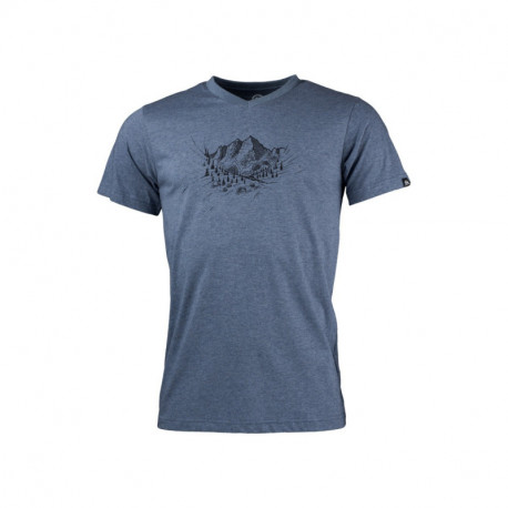 NORTHFINDER pánské tričko outdoorové melanžové bavlněné s vysokými kopci ABELIN