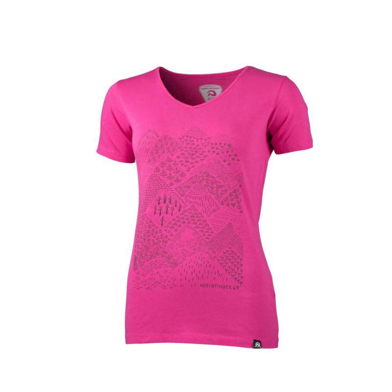 NORTHFINDER dámské tričko outdoorové jednobarevné bavlněné s horami PAMFILIA - NORTHFINDER dámské tričko outdoorové jednobarevné bavlněné s horami PAMFILIA