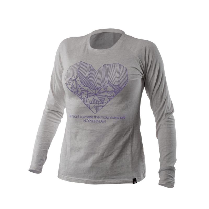 NORTHFINDER dámské triko cotton heart melange BIBIANA - Dámské tričko vysoce prodyšného a strečového materiálu s dlouhým rukávem a originálním potlačou.Tričko je příjemné na dotek, pružné, lehké, komfortní a je vhodné na běžné nošení, či outdoorové aktivity.