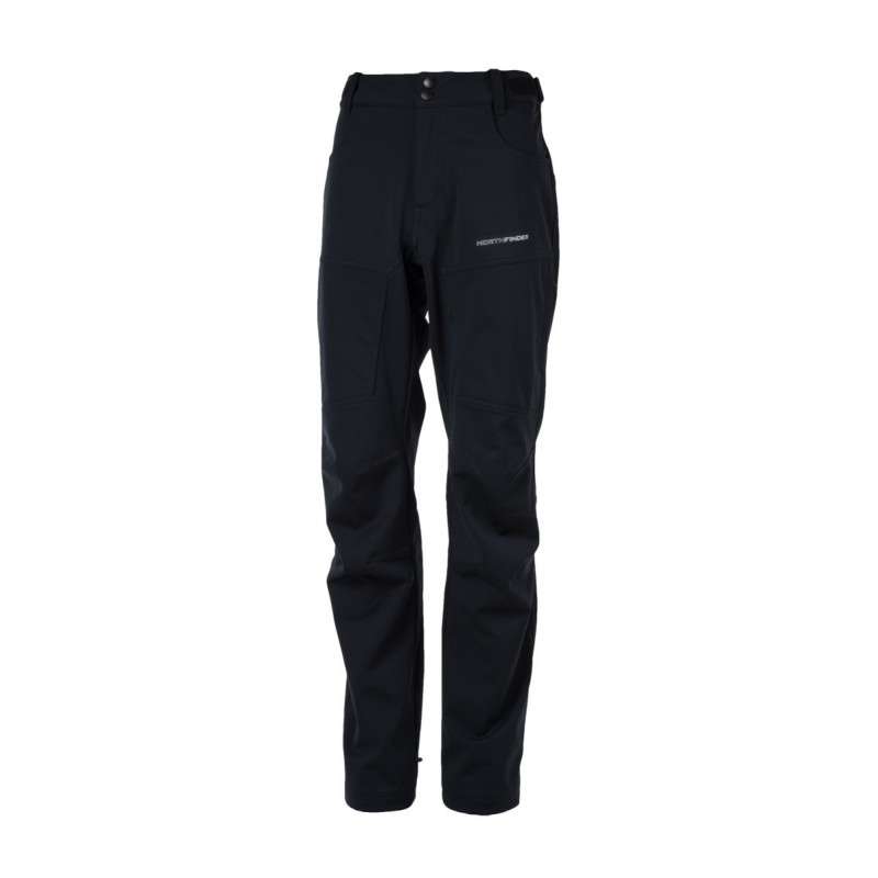 NORTHFINDER men's trousers outdoor softshell RAYDEN - Refined softshell trousers are well suited for more challenging conditions. Waterproof membrane protects from wind and enables moisture evaporation. Field tested cut with articulated knees and practical adjustment elements at waist and lower part of trousers guarantee high level of wearing comfort. Protection of stressed areas is covered by tear-resistant materials.
