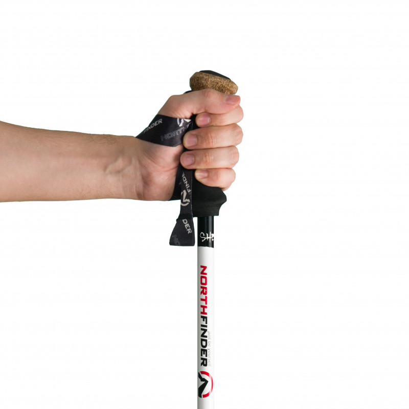 NORTHFINDER 3-parts poles hiking aluminium 135 SHERPA - Three-part tourist poles for year-round use. Resistant aluminum legs with simple locking up to 135 cm. Ergonomically shaped foam-cork grip with simple loop ensures firm grip. Use of pole increases safety, reduces burden on joints, and involves upper part of the body.