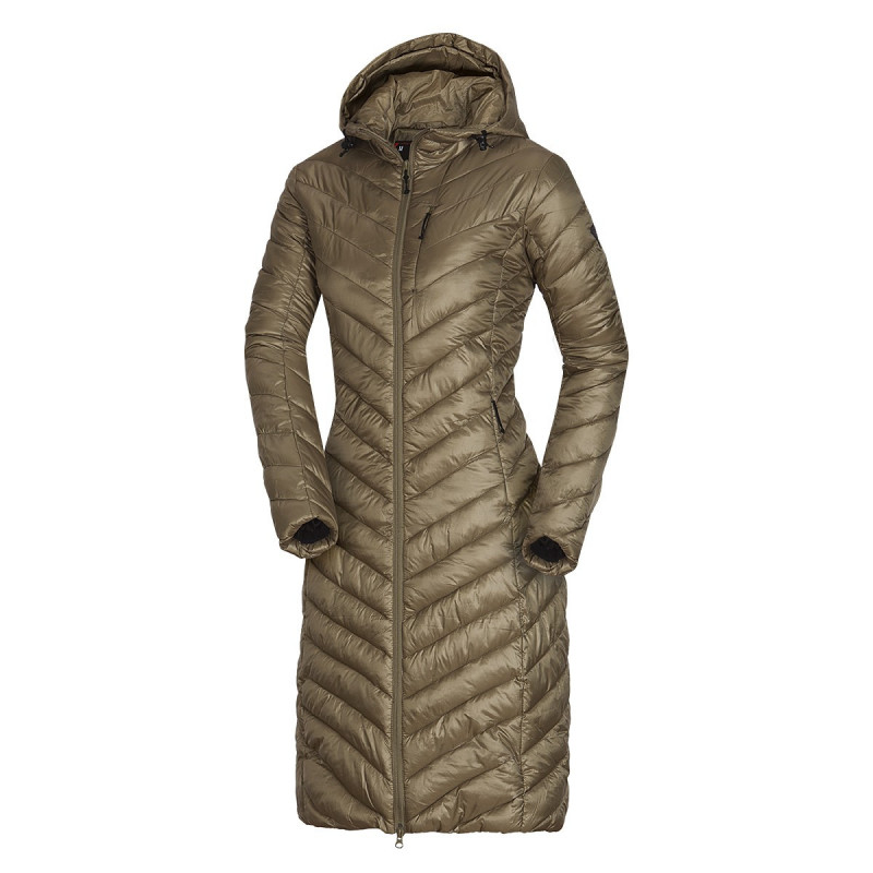 NORTHFINDER women´s like down jacket extra long style STELJA - Modern women's NORTHFINDER coat with acrylic coating and Ripstop Structure. Inside this lightweight jacket is NF® insulation, which creates a pleasant warm feeling. It is long enough, so when you bend over for something, your back stays hidden. The dominant feature is an built-in hood, leather features, or decorative sewing. Perfect especially for casual wear, traveling or walking in nature in winter. The feeling of cold cannot surprise you with the STELJA jacket.