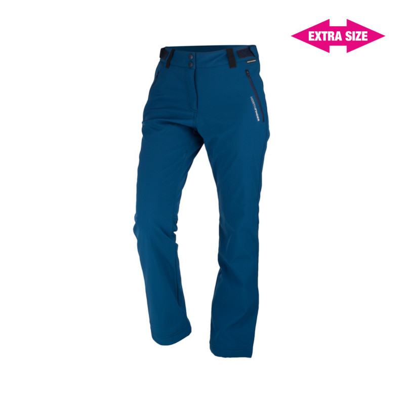 NORTHFINDER women´s strong-softshell trousers outdoor style EXTRA SIZE 3-layer GERONYA - The technical women´s outdoor trousers by NORTHFINDER offer a 3-layer, solid softshell material that protects from wind. The inner side of the trousers is covered with a warm fleece. Elements of reflection or adjustable belt are important elements. They have good waterproofness and are durable enough and ready for demanding hikes during the cold season. This model is made of EXTRA SIZE, i.e..is extended to width, not length. With GERONYA trousers, the feeling of cold cannot surprise you.