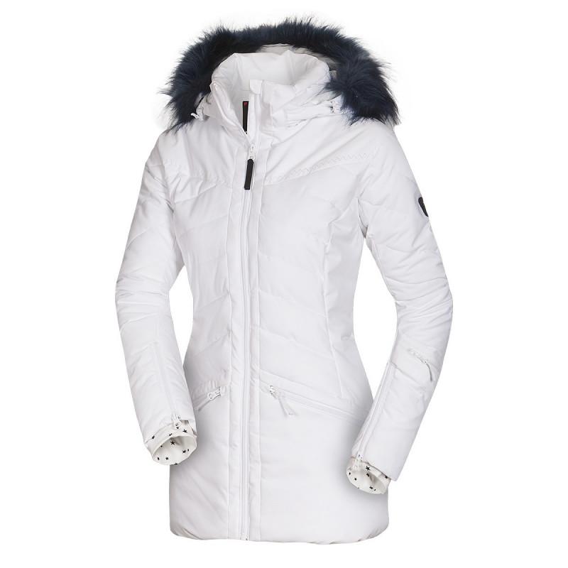 NORTHFINDER dámská bunda alpin zateplená série dlouhý styl a kožešinou 2L IRNES - Špičková technická 2vrstvá dámská lyžařská bunda značky NORTHFINDER s NF® izolací poskytne skvělou ochranu před zimou a sněhovými přeháňkami. Bunda je vybavena množstvím praktických kapes, do kterých si můžete uschovat své cennosti, brýle, skipass apod. Nesmí chybět sněžný pás, reflexní detaily či zateplené kapsy. Prodloužená zadní část, designové šití a odepínací kapuce s umělou kožešinou dotváří celkový elegantní alpský design bundy. Bunda je prioritně určena na lyžování, ale dá se využít i na procházky zimní krajinou. Je kombinovatelná s kalhotami LOXLEYNA (NO-4572SNW). Staňte se královnou svahu s naší bundou IRNES.