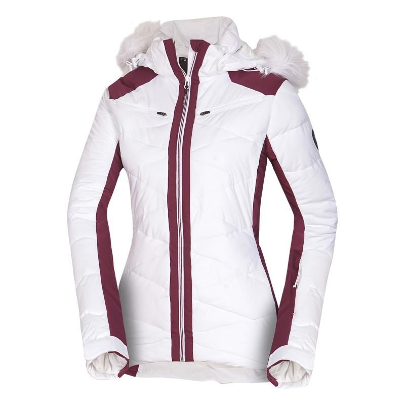 NORTHFINDER dámská bunda alpin zateplená série krátký styl a kožešinou 2,5L LUISE - Špičková technická 2,5vrstvá dámská lyžařská bunda značky NORTHFINDER s NF® izolací poskytne skvělou ochranu před zimou a sněhovými přeháňkami. Bunda je vybavena množstvím praktických kapes, do kterých si můžete uschovat své cennosti, brýle, skipass apod. Nesmí chybět sněžný pás, reflexní detaily či nastavitelné manžety. Prodloužená zadní část, kožené detaily, designová odepínací kapuce s umělou kožešinou dotváří celkový elegantní alpský design bundy. Bunda je prioritně určena na lyžování, ale dá se využít i na procházky zimní krajinou. Je kombinovatelná s kalhotami OSIRIS (NO-4575SNW). Staňte se královnou svahu s naší bundou LUISE.