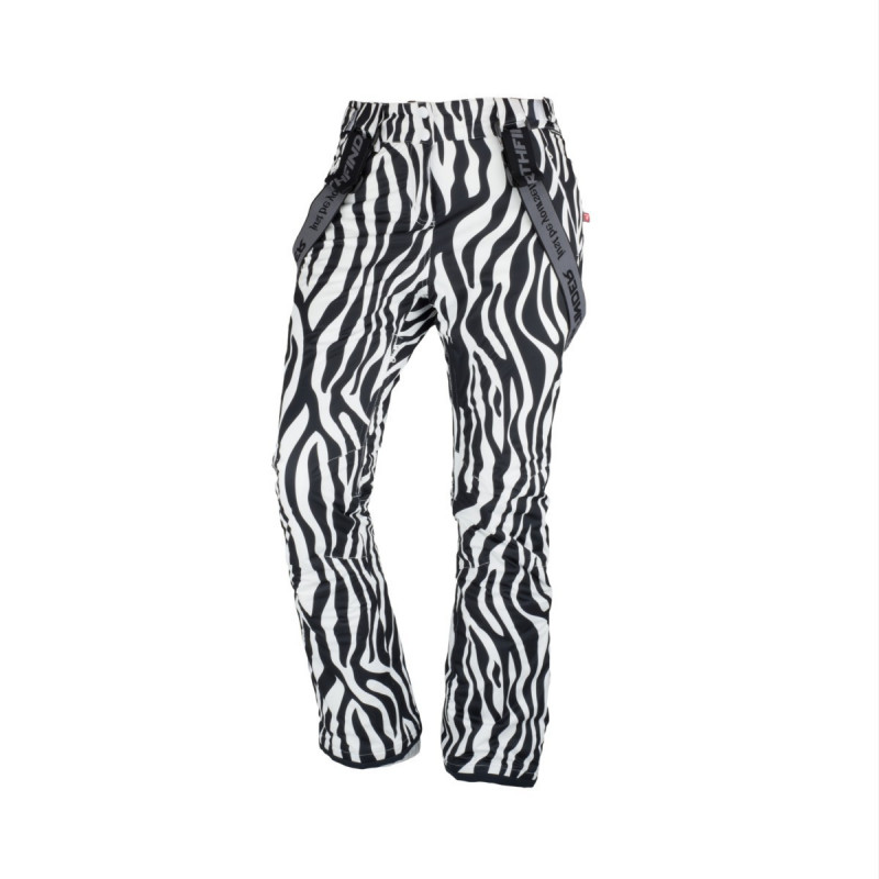NORTHFINDER dámské kalhoty lyžařské celopotištěné komfortní s šlemi 2,5L OSIRIS - Technické 2,5vrstvé dámské lyžařské kalhoty značky NORTHFINDER se SEAL výplní poskytnou skvělou ochranu před zimou a sněhovými přeháňkami. Kalhoty mají všechny švy podlepené, tvarovaná kolena či zateplené kapsy. Nechybí ani větrací otvory se síťovinou, reflexní prvky nebo odnímatelné šle. Celopotištěný materiál je kombinací extravagance a ženskosti. Kalhoty jsou prioritně určeny na lyžování, ale dají se využít i na procházky zimní krajinou. Probuďte v sobě šelmu a staňte se královnou svahu s kalhotami OSIRIS.