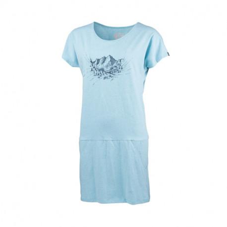 NORTHFINDER dámske tričko outdoorové melanžové bavlnené s horami KINNSEA