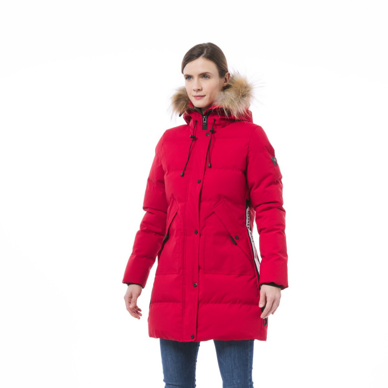 NORTHFINDER women's street jacket long style DEQIA - Versatile winter jacket in Norwegian style with an acrylic coating. Winter jacket is ideal for leisure activities - it is suitable for daily use in the city, school, or work. Jacket can also be used for games in the snow, and skiing.