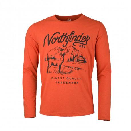 NORTHFINDER pánské triko melanžové bavlněný styl HUNTWER