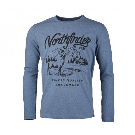 NORTHFINDER pánske tričko melanžové bavlnený štýl HUNTWER