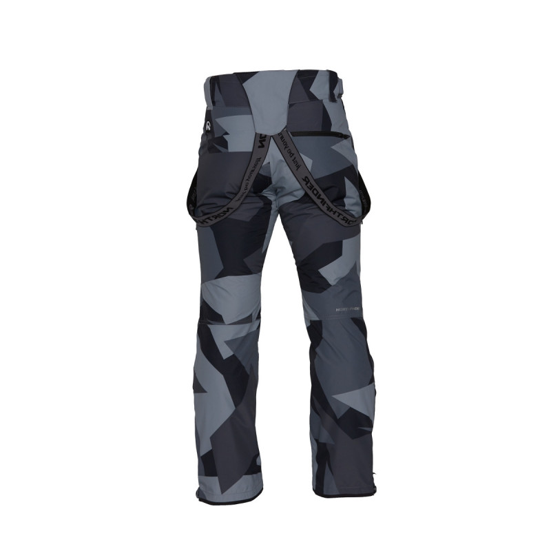 NORTHFINDER men's trousers ski camo print 2L KESIM - You should definitely be seen while skiing or snowboarding. No fashion, just your way to a maximal fun and performance. These urban camo pants are on your side. Invisible in the city, but eye-catchy when first ride or heading to the party. The durable construction is made of 2-layer material with fleece insulation inside. That fabric regulates warmth and transportes moisture. They are able to protect you against wind and snow. If needed, open the external vents to cool down quickly. The pants give you a wide range of movement ensured by stretchy material and articulated construction especially by articulated knees. With or without the braces they are well fixed by adjustable weistband with velcro or by using a belt. To avoid snow getting to your legs, we add sewn-in elastic gaiters with velcro openings for easy boot adjustment. You can combine these pants with insulated jacket ELKLIPS. Going your own way means being yourself.