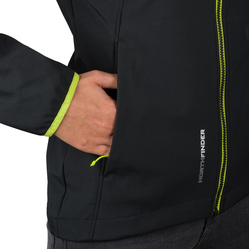 NORTHFINDER dámská outdoorová bunda 3L softshell AXYMETA - Univerzální softshellová bunda AXYMETA s nastavitelnou kapucí zaboduje svým bezchybným designem. Nabízí 100% ochranu před větrem a vlhkostí a prémiový komfort nošení. Je vyrobena z 3vrstvého softshellu s flísem, který je nepromokavý do 5000 mm vodního sloupce a nabízí prodyšnost 5000 g/m2/24 h. Příjemný elastický softshell vytváří dokonalou souhru s pohybem. Zadní díl bundy je prodloužený a spolu se stahovači na bocích a kapucí chrání před ztrátou tepla či nepříjemným větrem. Použitý zip YKK Vislon s jedním jezdcem je zárukou dlouhé životnosti. Bunda má dobře umístěné kapsy na zip a disponuje reflexními prvky. Rukávy jsou zakončeny technickou elastickou manžetou nové generace. Bunda AXYMETA zaujme svým designem a nepodlehne větru, vlhku ani chladu.
