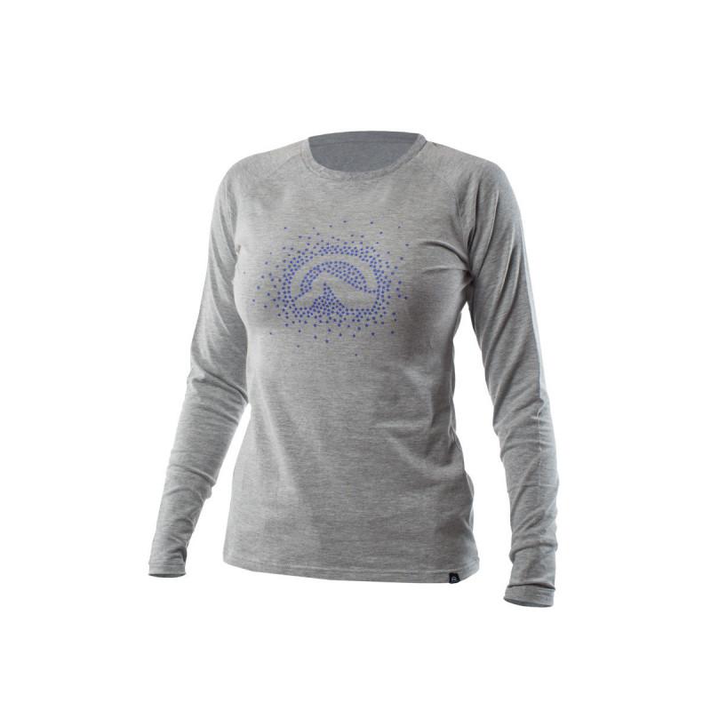NORTHFINDER dámské triko cotton logo stars melange ELVIRA - Dámské tričko vysoce prodyšného a strečového materiálu s dlouhým rukávem a originálním potlačou.Tričko je příjemné na dotek, pružné, lehké, komfortní a je vhodné na běžné nošení, či outdoorové aktivity.