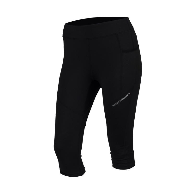 NORTHFINDER dámské kalhoty Inga - Dámske bežecké ¾ legíny úzkeho strihu spotlačou, bezpečnostným vreckom na zips na zadnej strane a reflexnými prvkami. Sú ideálnym spoločníkom na beh apodobné športové aktivity.