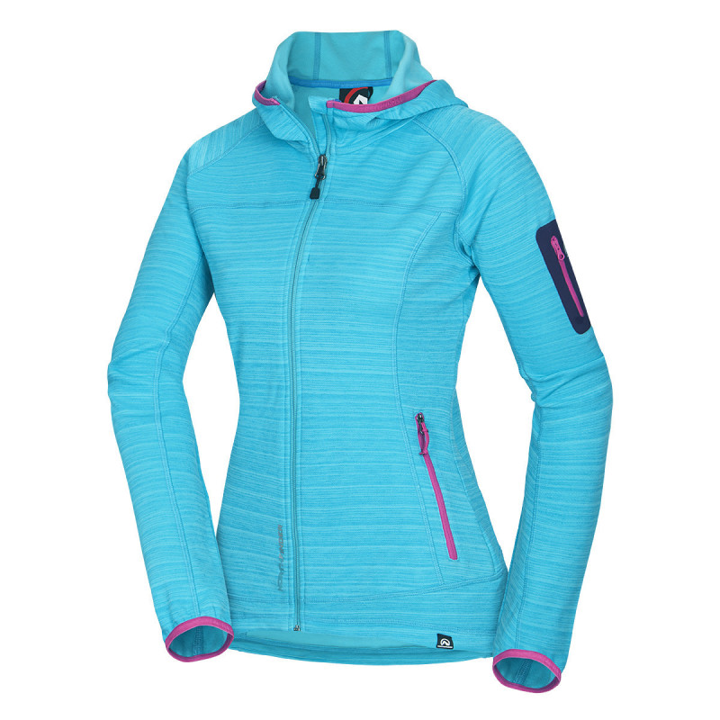 NORTHFINDER women´s sweater hooded outdoor sport SKYE - Sweater from elastic fabric fits perfectly and adapts to movement. Breathablity makes it great for physically-demanding activities. Adjustable parts and stretch elements offer active movement comfort. Fabric is low-maintenance and dries quickly.